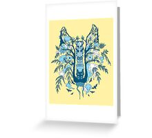 Psychedelic plants and totem wolf Greeting Card