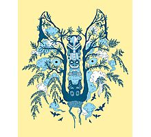 Psychedelic plants and totem wolf Photographic Print