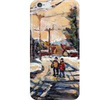 BEST ORIGINAL QUEBEC PAINTINGS WINTER WALK IN THE COUNTRY iPhone Case/Skin