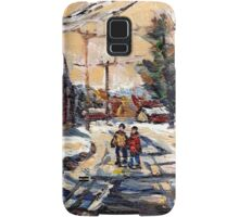 BEST ORIGINAL QUEBEC PAINTINGS WINTER WALK IN THE COUNTRY Samsung Galaxy Case/Skin