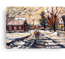 BEST ORIGINAL QUEBEC PAINTINGS WINTER WALK IN THE COUNTRY Canvas Print