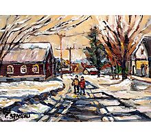 BEST ORIGINAL QUEBEC PAINTINGS WINTER WALK IN THE COUNTRY Photographic Print