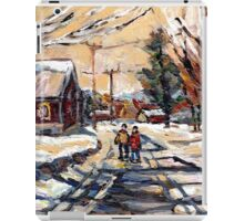 BEST ORIGINAL QUEBEC PAINTINGS WINTER WALK IN THE COUNTRY iPad Case/Skin