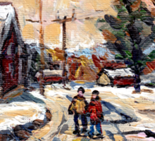 BEST ORIGINAL QUEBEC PAINTINGS WINTER WALK IN THE COUNTRY Sticker