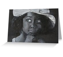 Little Black Girl Looking Through Window Greeting Card