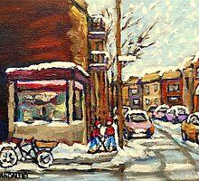 BEST AUTHENTIC ORIGINAL MONTREAL ART VERDUN DEPANNEUR MONTREAL WINTER STREE SCENES by Carole  Spandau