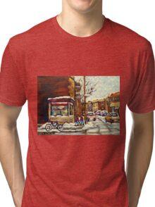 BEST AUTHENTIC ORIGINAL MONTREAL ART VERDUN DEPANNEUR MONTREAL WINTER STREE SCENES Tri-blend T-Shirt