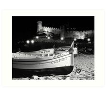 Wooden Fishing Boats and a Castle Art Print