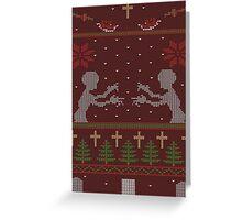 UGLY BUFFY CHRISTMAS SWEATER Greeting Card
