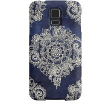 Cream Floral Moroccan Pattern on Deep Indigo Ink Samsung Galaxy Case/Skin