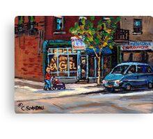 BEST AUTHENTIC ORIGINAL MONTREAL ART RUE ST.VIATEUR BOULANGERIE ST.VIATEUR  MONTREAL CITY SCENES Canvas Print