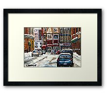 BEST AUTHENTIC ORIGINAL DOWNTOWN MONTREAL PAINTINGS RUE STANLEY CANADIAN ART Framed Print