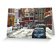 BEST AUTHENTIC ORIGINAL DOWNTOWN MONTREAL PAINTINGS RUE STANLEY CANADIAN ART Greeting Card