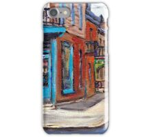 BEST CANADIAN ORIGINAL MONTREAL PAINTINGS RUE FAIRMOUNT AND CLARK WILENSKY CORNER DELI QUEBEC  iPhone Case/Skin