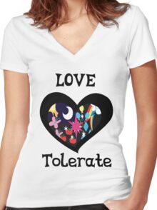 love and tolerate Women's Fitted V-Neck T-Shirt