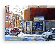 MONTREAL MEMORIES EXCEPTIONAL CANADA ART BEAUTY'S RESTAURANT RUE ST.URBAIN BEST MONTREAL ART Canvas Print