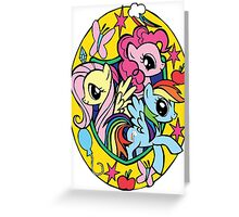 pinkie pie, fluttershy and rainbow dash Greeting Card