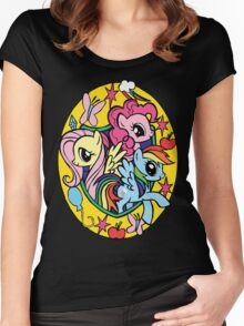 pinkie pie, fluttershy and rainbow dash Women's Fitted Scoop T-Shirt