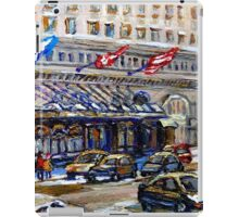 Rue Sherbrooke Best Canadian Original Art For Sale Ritz Carlton Paintings  Montreal Street Scenes iPad Case/Skin