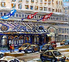 Rue Sherbrooke Best Canadian Original Art For Sale Ritz Carlton Paintings  Montreal Street Scenes by Carole  Spandau