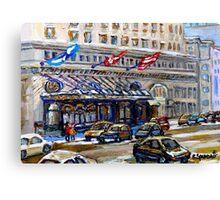 Rue Sherbrooke Best Canadian Original Art For Sale Ritz Carlton Paintings  Montreal Street Scenes Canvas Print