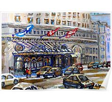 Rue Sherbrooke Best Canadian Original Art For Sale Ritz Carlton Paintings  Montreal Street Scenes Poster