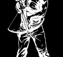 Daryl Dixon White Sketch on Black Background by neonxgypsy