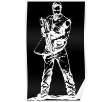 Daryl Dixon White Sketch on Black Background Poster