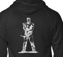 Daryl Dixon White Sketch on Black Background Zipped Hoodie