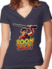 Boom Stick Ash Women's Fitted V-Neck T-Shirt