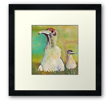 Realistic painted sweet little birds Framed Print
