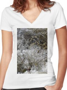 Sibiel creek blossom springtime near Sibiu Romania Women's Fitted V-Neck T-Shirt
