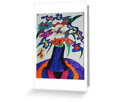 Vase with Stemless Flowers Greeting Card