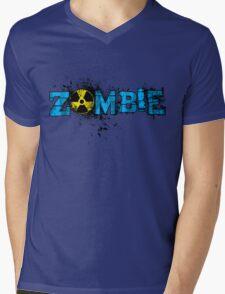 Zombie Banner Blue Mens V-Neck T-Shirt