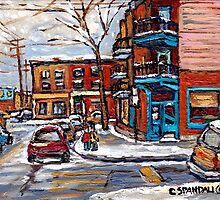 Rue Fairmount And Clark Wilensky Winter Scene Montreal Memories Painting Authentic Original Montreal Paintings by Carole  Spandau