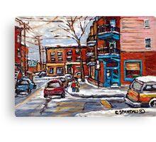 Rue Fairmount And Clark Wilensky Winter Scene Montreal Memories Painting Authentic Original Montreal Paintings Canvas Print