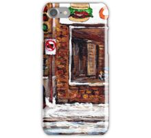 Dilallo Burger Hockey Scenes Rue Notre Dame Montreal Winter Street  Canadian Paintings iPhone Case/Skin