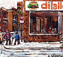 Dilallo Burger Hockey Scenes Rue Notre Dame Montreal Winter Street  Canadian Paintings by Carole  Spandau