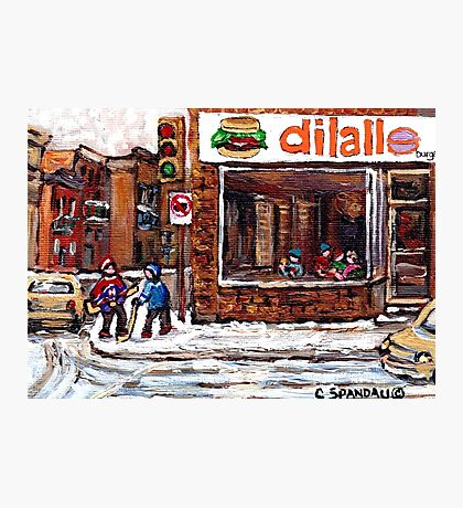 Dilallo Burger Hockey Scenes Rue Notre Dame Montreal Winter Street  Canadian Paintings Photographic Print