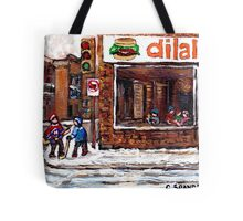 Dilallo Burger Hockey Scenes Rue Notre Dame Montreal Winter Street  Canadian Paintings Tote Bag