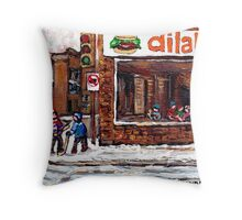 Dilallo Burger Hockey Scenes Rue Notre Dame Montreal Winter Street  Canadian Paintings Throw Pillow