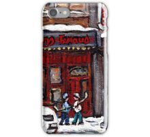 Dunn's Famous Deli Montreal Winter Street Scene Paintings Hockey Scenes Rue Metcalfe Montreal  iPhone Case/Skin