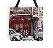 Dunn's Famous Deli Montreal Winter Street Scene Paintings Hockey Scenes Rue Metcalfe Montreal  Tote Bag