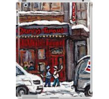 Dunn's Famous Deli Montreal Winter Street Scene Paintings Hockey Scenes Rue Metcalfe Montreal  iPad Case/Skin