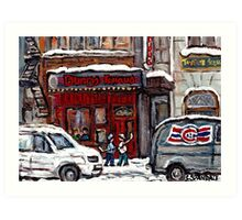 Dunn's Famous Deli Montreal Winter Street Scene Paintings Hockey Scenes Rue Metcalfe Montreal  Art Print