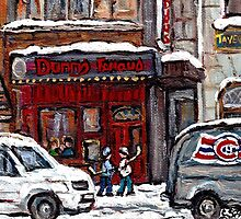 Dunn's Famous Deli Montreal Winter Street Scene Paintings Hockey Scenes Rue Metcalfe Montreal  by Carole  Spandau