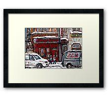 Dunn's Famous Deli Montreal Winter Street Scene Paintings Hockey Scenes Rue Metcalfe Montreal  Framed Print