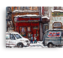 Dunn's Famous Deli Montreal Winter Street Scene Paintings Hockey Scenes Rue Metcalfe Montreal  Canvas Print