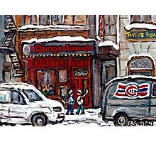 Dunn's Famous Deli Montreal Winter Street Scene Paintings Hockey Scenes Rue Metcalfe Montreal  Photographic Print