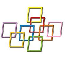 Coloured Rectangles Entangled Photographic Print